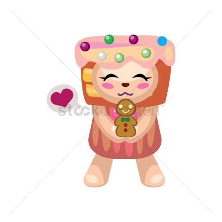 Cookie : Teddy bear in cupcake costume with gingerbread cookie