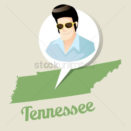 Tennessee : Tennessee map with elvis presley icon