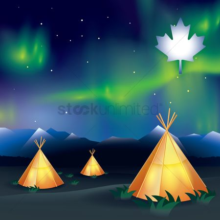 Cones : Tepees with aurora borealis background