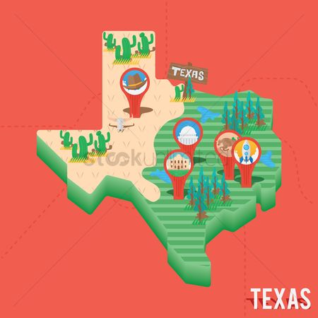 Cactuses : Texas map