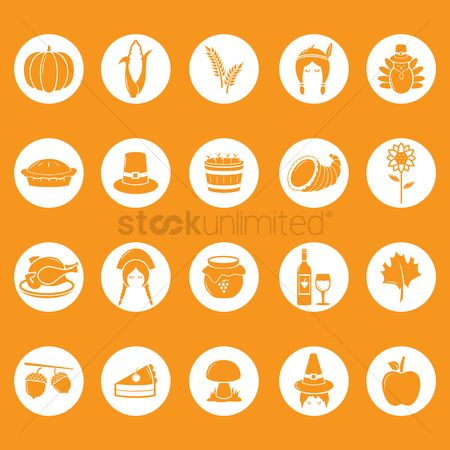 Flower pot : Thanksgiving icons collection