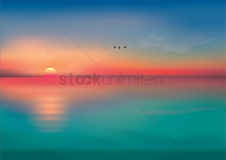 Nature : The view of the sun and the sea