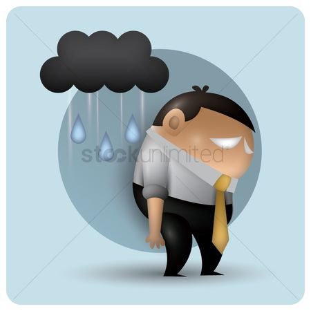 Expression : Tired man with cloud and rain