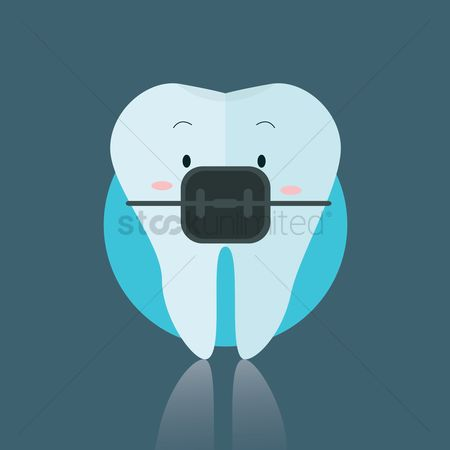 Tooth with braces : Tooth wearing braces