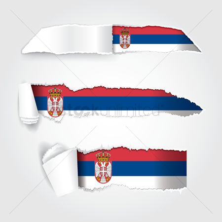 Patriotic : Torn paper showing serbia flag