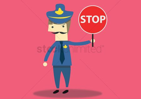 Authority : Traffic police with stop signboard