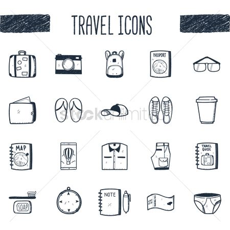 Footwears : Travel icons set