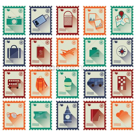Aeroplanes : Travel stamp icons