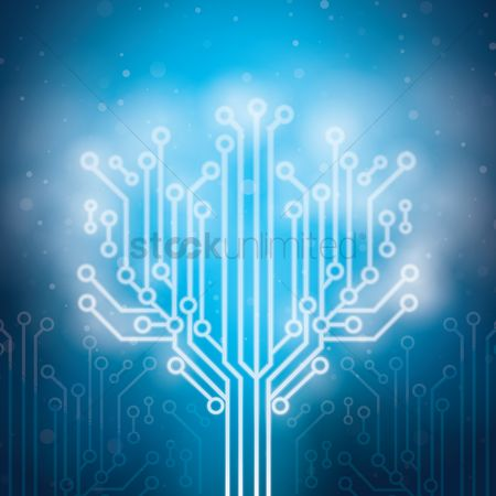 Illumination : Tree design on circuit board wallpaper