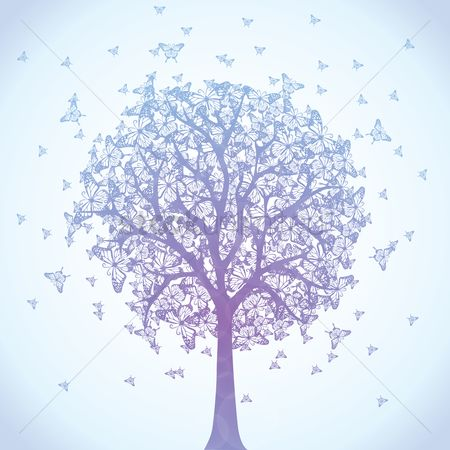 Wallpaper : Tree filled with butterflies