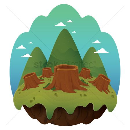 Logs : Tree stumps on floating island