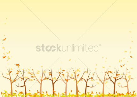Falling : Trees in autumn background