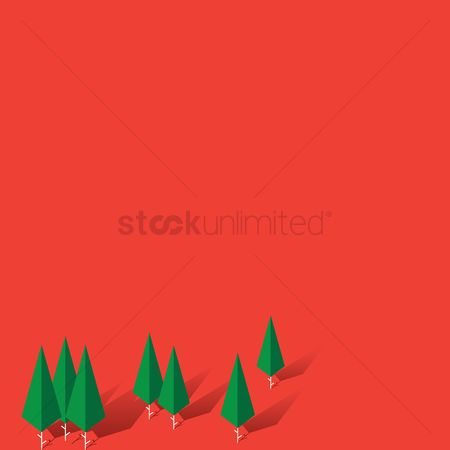 Minimalist : Trees with red background