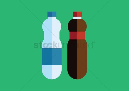 Background : Two bottles with label