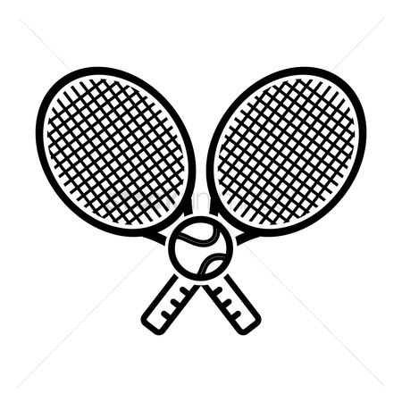 Racket : Two tennis rackets with tennis ball