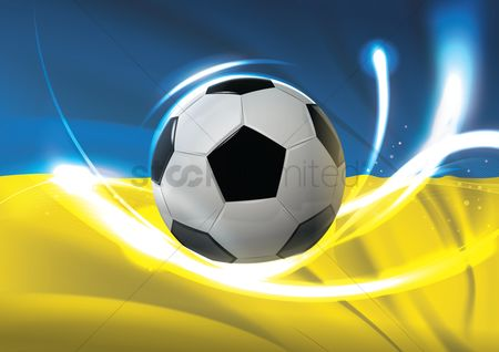 Ukraine : Ukraine flag with soccer ball