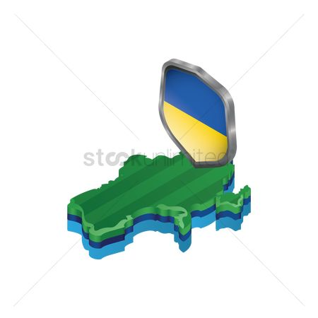 Ukraine : Ukraine map with shield