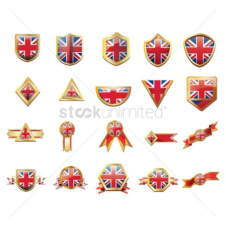 England : United kingdom flag ribbons and buttons