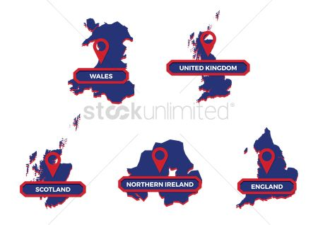 England : United kingdom map set