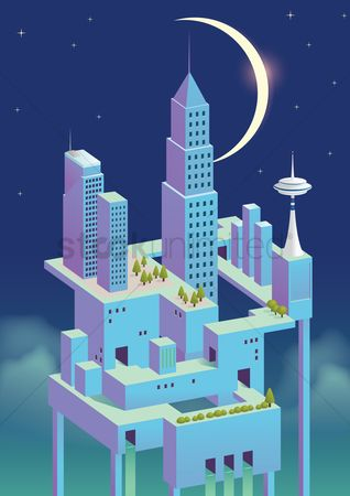 Towers : Urban city concept at night