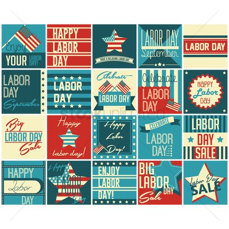 Relaxing : Us labor day icons
