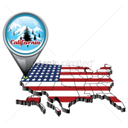 California : Us map with pin showing california state