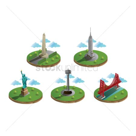 Needle : Usa famous landmarks collection