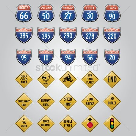 California : Usa road signs icons