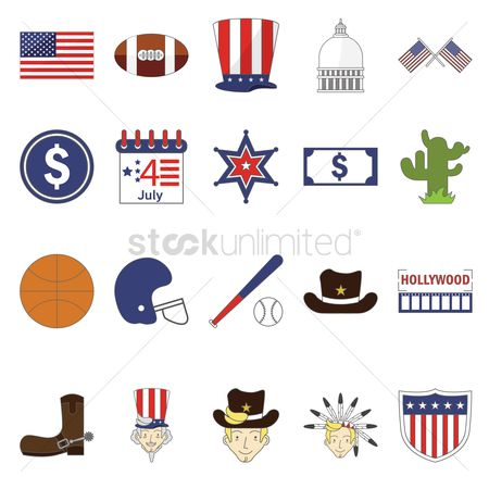 Rugby ball : Usa symbols collection