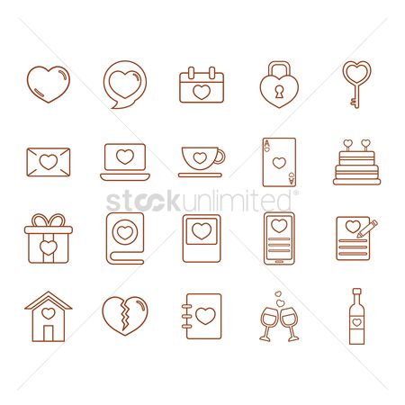 Coffee cups : Valentines day icons