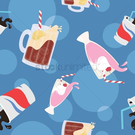 Straw : Various drinks pattern design