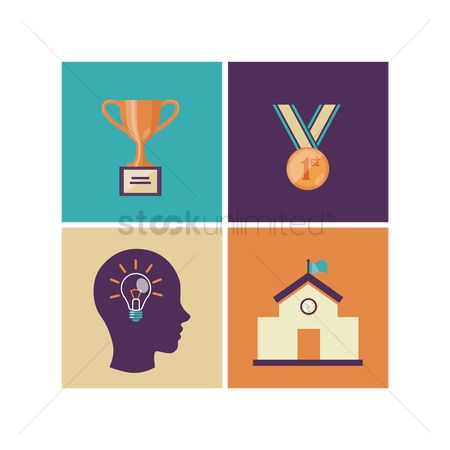 Medal : Various education concept icons