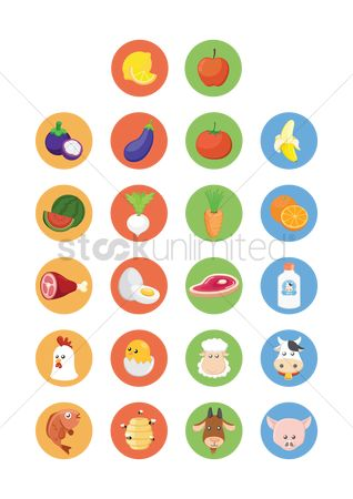 Bananas : Various fresh farm produce icons