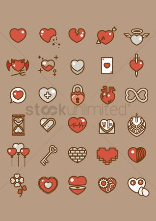 Boxes : Various heart icons