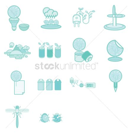 Recycle bin : Various recycle and environmental icons