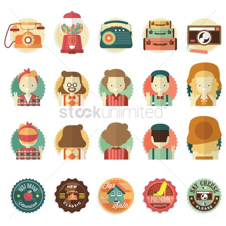 Old fashioned : Various vintage icons