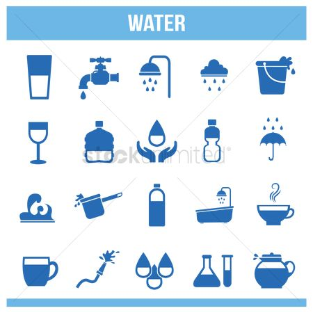 Faucets : Various water icons set