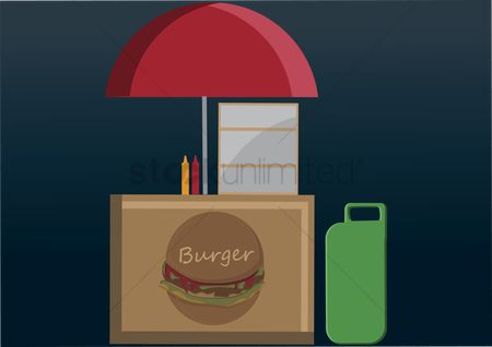 Food cart : Vector of burger booth