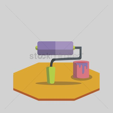 Interior : Vector of paint roller with paint bucket