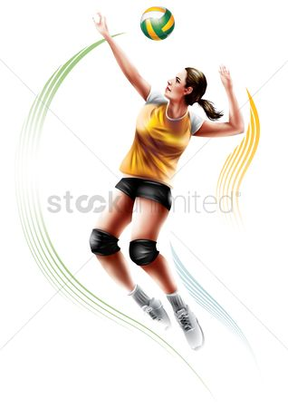 Athletes : Volleyball player in action