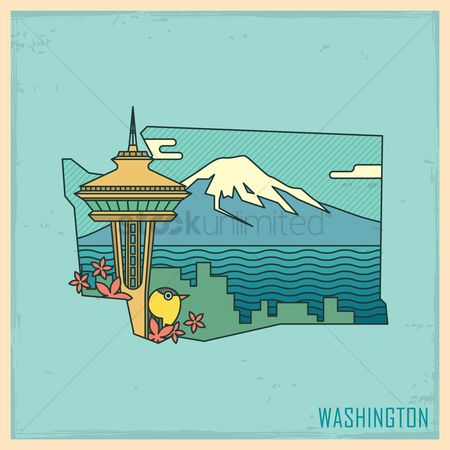 United states : Washington state map