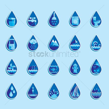 Mountains : Water drop icons