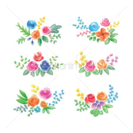 Vectors : Watercolor flower with leaves