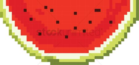 Watermelon slice : Watermelon pixel art