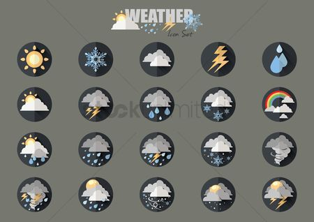 Summer : Weather type icon set