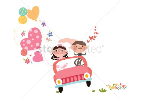 Weddings : Wedding couple in a car