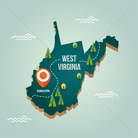 Capital city : West virginia map with capital city