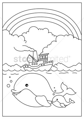 Cartoon : Whale with calf underwater
