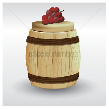 Wine barrel : Wine barrel and bunch of grapes