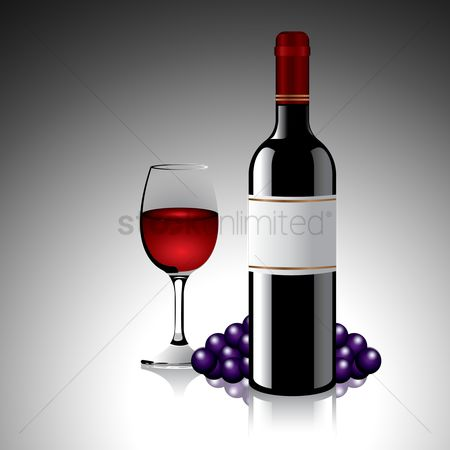 Red wine : Wine bottle and glass with grapes